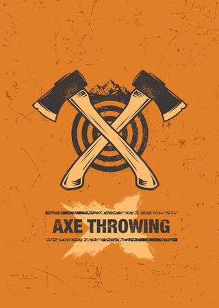 Axe Throwing Wilderness Outdoor Activity On Grunge Background Çizim