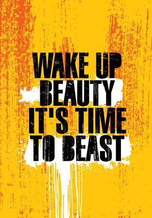 Wake Up Beauty It Is Time To Beast. Mind On A Mission. Inspiring Gym Workout Typography Motivation Quote
