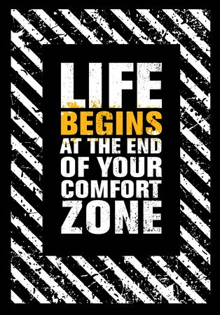 Life Begins At He End Of Your Comfort Zone. Inspiring Typography Creative Motivation Quote Vector Banner. Ilustrace