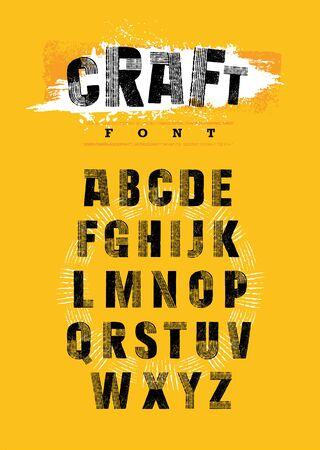 Organic Craft Urban Farm Font. Local Farm Market Food Letters Vector Concept. Artisanal Rough Letters