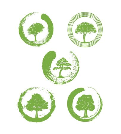 Zen Landscape Design Vector Design Element Set. Holistic Sustainable Illustration With Tree and Organic Circle