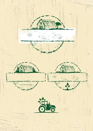 Creative Illustration Concept With Tractor Icon