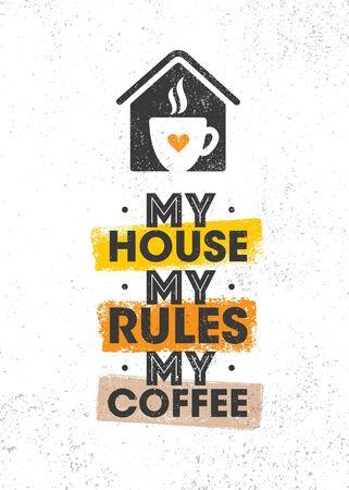 Inspiring Cafe Decoration Creative Motivation Quote Interior Poster Template. Kitchen Art Vector Typography Banner Ilustração