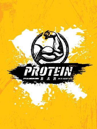 Barre Protéine Nutrition Sportive Saine Concept Créatif Puissant Signe Vecteur