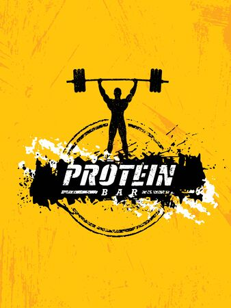 Protein Bar Healthy Sport Nutrition Creative Powerful Sign Vector Concept