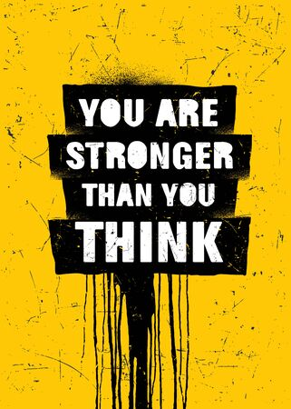 You Are Stronger Than You Think. Strong Inspiring Gym Workout Typography Motivation Quote Poster Concept  イラスト・ベクター素材