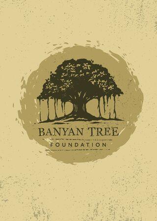 Banyan Tree Holistic Healing Vector Design Element On Textured Background