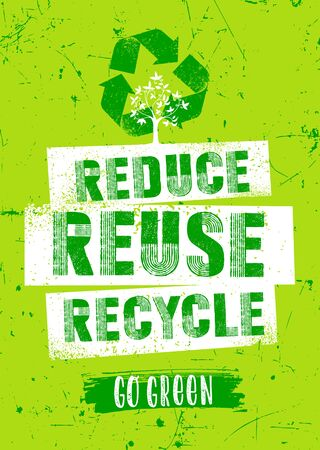 Reduce. Reuse. Recycle. Organic Eco Friendly Green Vector Design Element On Grunge Background.