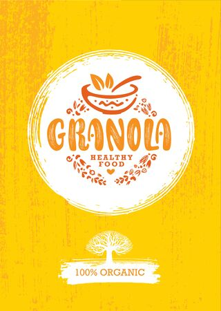 Granola Cereal Vector Nutrition Food Design Element. Organic Meal