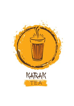 Stylish Oriental Drink On Paper Cardboard Background Illustration