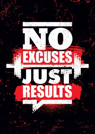 No Excuses. Just Results. Inspiring Sport Workout Typography Motivation Quote Banner On Textured Background.