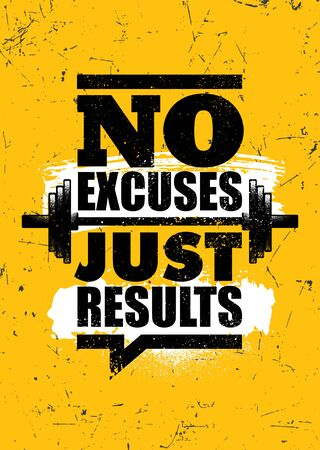 No Excuses. Just Results. Inspiring Sport Workout Typography Motivation Quote Banner On Textured Background. Çizim