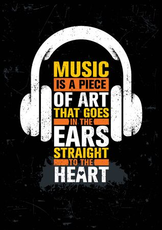 Inspiring Typography Creative Motivation Quote About Music. Vector Template On Abstract Art Background With Headphones Çizim