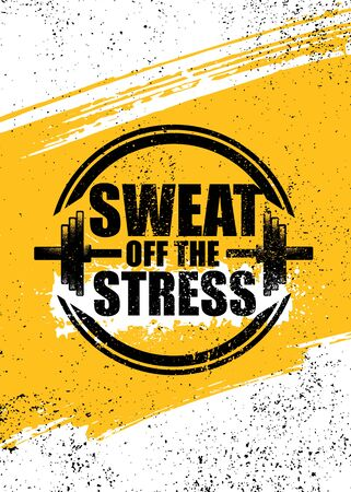 Sweat Off The Stress. Inspiring Sport Workout Typography Quote Banner On Textured Background. Gym Motivation Print Stok Fotoğraf - 143780690