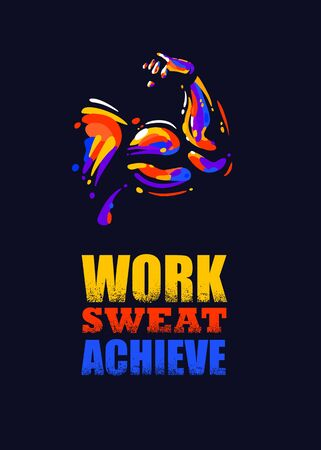 Work Sweat Achieve. Inspiring Sport Workout Typography Quote Banner On Textured Background. Gym Motivation Print Stok Fotoğraf - 147560721