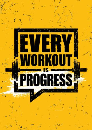 Every Workout Is Progress. Inspiring Sport Workout Typography Quote Banner On Textured Background. Gym Motivation Print