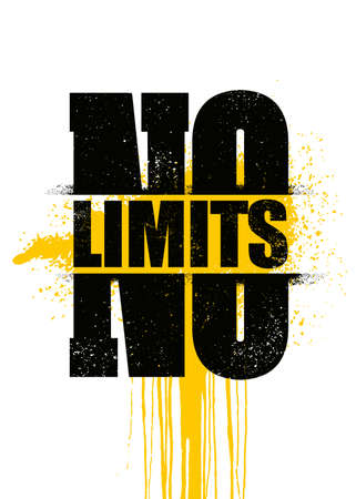 No Limits. Inspiring Sport Workout Typography Quote Banner On Textured Background. Gym Motivation Print Çizim