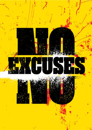 No Excuses. Inspiring Sport Workout Typography Quote Banner On Textured Background. Gym Motivation Print