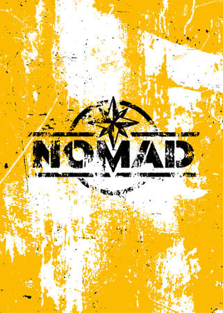 Nomad Adventures Sign concept. Outdoor Wilderness Survival Gear Illustration On Grunge Background 向量圖像