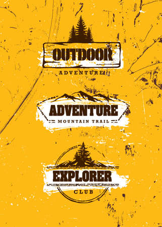 Mountain Trail Outdoor Adventure Sign Concept. Wilderness Survival Gear Illustration On Grunge Background With Pine Trees Çizim