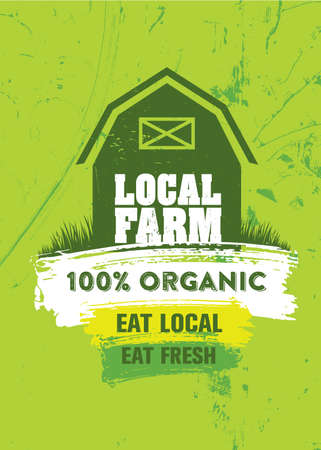 Local Farm Organic Fresh Food Market. Homegrown Vegetables Illustration. Craft Vector Design Element On Painted Wall Background