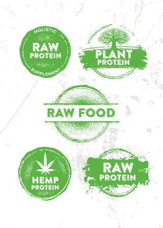 Raw Protein Holistic Organic Plant Food Supplement Design Concept. Vector Brush Stamp Weathered Illustration