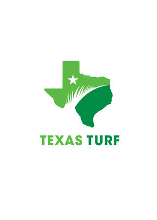 Texas Turf. Lawn And Garden Care Company Creative Design Element. Vector Grass And Tree Icon Set For Landscaping Company Çizim