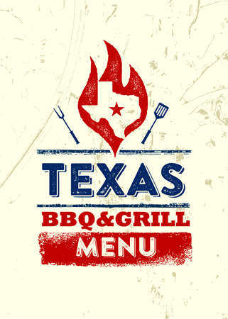 Texas Restaurant Grill and BBQ Menu Vector Design Element On Rough Stok Fotoğraf - 157410942