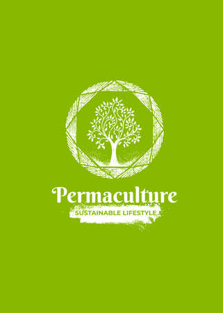 Permaculture Homestead Sustainable Eco Farm. Organic Tree  Concept
