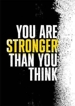 You Are Stronger Than You Think. Inspiring Sport Workout Typography Quote Banner On Textured Background. Gym Motivation Print Çizim