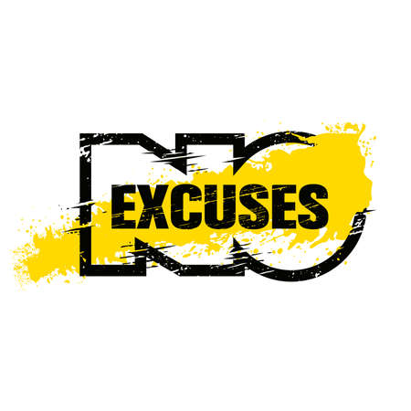 No Excuses. Strong Workout Gym Distressed Motivation Banner Concept Print on Grunge Background Çizim