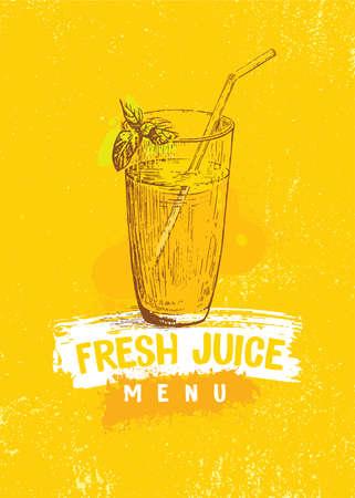 Glass of Fresh Juice Bar Menu Cover Concept. Healthy Food Handmade Craft Illustration On Organic Background