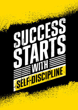 Success Starts with Self-discipline. Strong Workout Gym Motivation Quote Banner On Rough Grunge Background