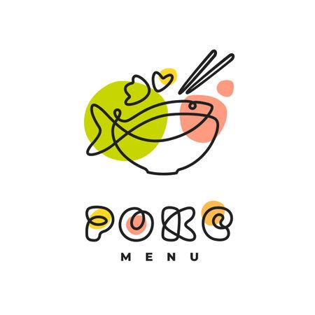 Poke Bowl Hawaiian Cuisine Artisanal Sign. Plate with Fish Healthy Food Restaurant Line Vector Illustration
