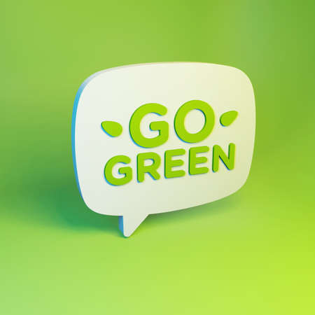 Go Green Eco 3D Speech Bubble On Juicy Background Stok Fotoğraf