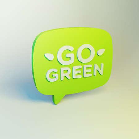 Go Green 3D Organic Eco Friendly Illustration. Speech Bubble Design Element On Juicy Background