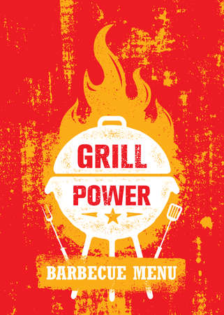 Grill Power Barbecue Menu. Outdoor Charcoal Restaurant and BBQ Vector Design Element On Rough Background. Hot Fire Flame Illustration on Grunge Wall Çizim