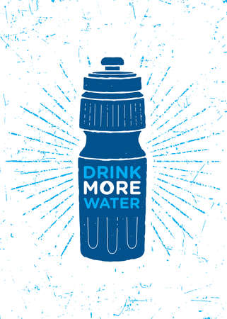 Drink More Water. Healthy Nutrition Motivation Quote Concept. Sport Bottle Illustration On Textured Background