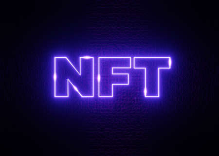 NFT Crypto Art. Non Fungible Token On Colorful Abstract Background. 3d Render Blockchain Illustration Concept Stok Fotoğraf