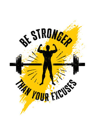 Be Stronger Than Your Excuses. Gym Typography Inspiring Workout Motivation Quote. Barbell Illustration On Rough Wall Urban Background With Brush Stroke