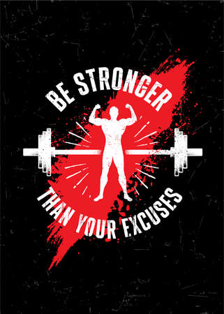 Be Stronger Than Your Excuses. Gym Typography Inspiring Workout Motivation Quote. Barbell Illustration On Rough Wall Urban Background With Brush Stroke Çizim