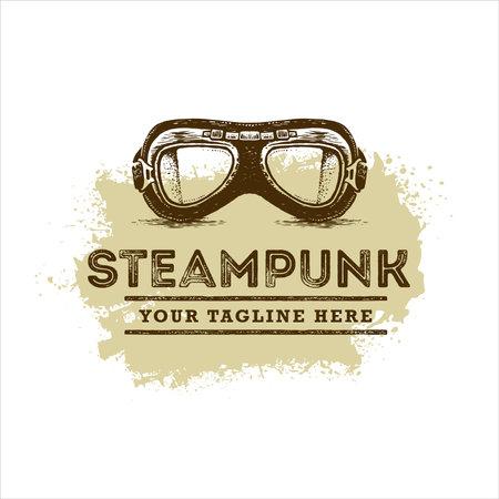 Steampunk Aviator Glasses Illustration. Vector Sign Design Element Concept With Grunge Background
