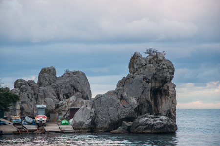 bay with rocks and boat mooring in the sea in the Crimea in high quality Stock Photo