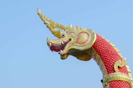 Closeup head the Statue of King of Nagas Symbol in the WatSaman.Rattanaram chachoengsao photo