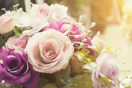 Colorful decoration artificial flower  with vintage filter