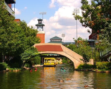 Canal in Bricktown, Oklahoma City 版權商用圖片