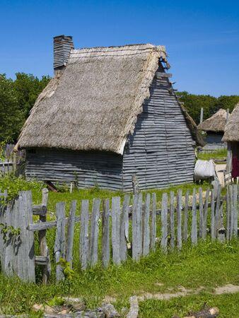An English colonial hut at Plimoth Plantation in Plymouth, MA.