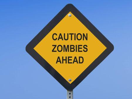 Funny Traffic Sign Zombies Ahead 版權商用圖片