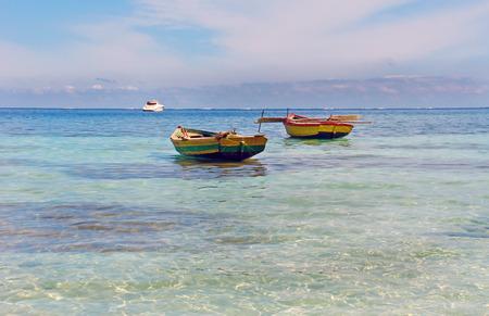 fishery: Old fishing boats near Labadee, Haiti Stock Photo