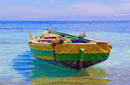haiti: An old fishing boat docked near Labadee, Haiti  Stock Photo